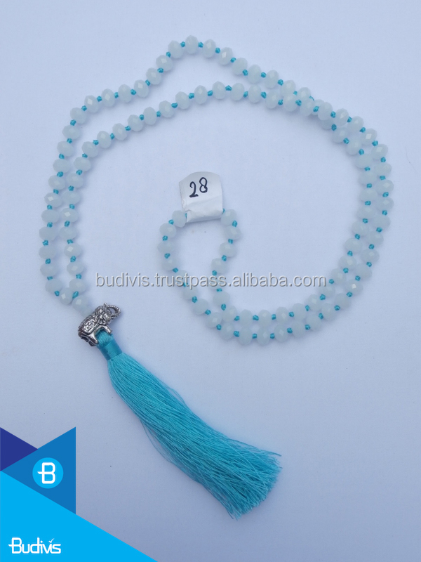 Manufacturer Long Knot Crystal Necklace Tassel Elephant, Buddha Statement Pendant