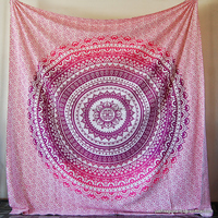 Traditional Chakra Mandala Queen Vintage Tapestry NCQT-18B Hippies Bedding Cotton Throw Blanket Interior Decorating Bedspread