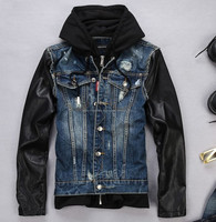 2017 New Fashion Design High Quality Men,s Denim Jacket Leather Sleeve