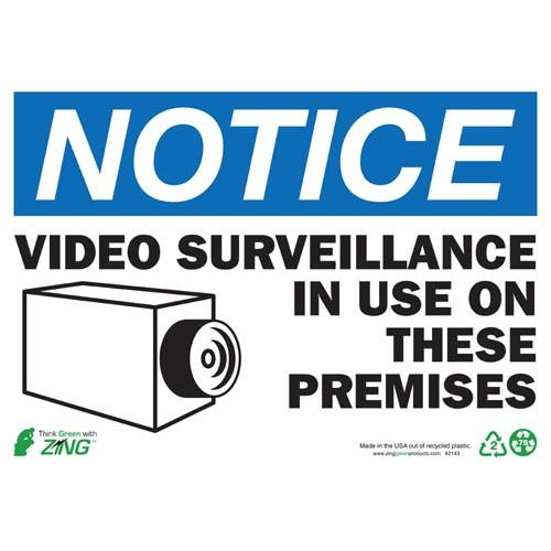 "Zing Green Products 2143S, Eco 10""H x 14""W ""Notice Video Surveillance"" Recycled Rapidly Renewable Self-Adhesive Safety Sign"