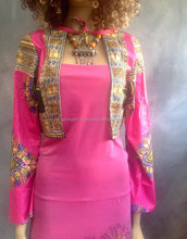 Flower child hot pink dashiki dress Badu long dress and reversible jacket sz medium.