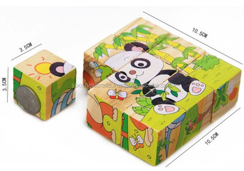 Six Sides Picture 3D Wooden Block Jigsaw Puzzles