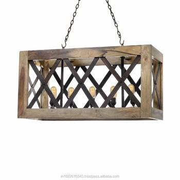 Industrielle lustre industrielle bois métal plafonnier