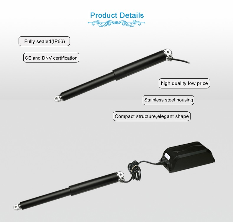 Waterproof Protect Feature and Brush Commutation flat linear actuators 12v 300mm stroke used for Boat,Car boot opener,Fan,