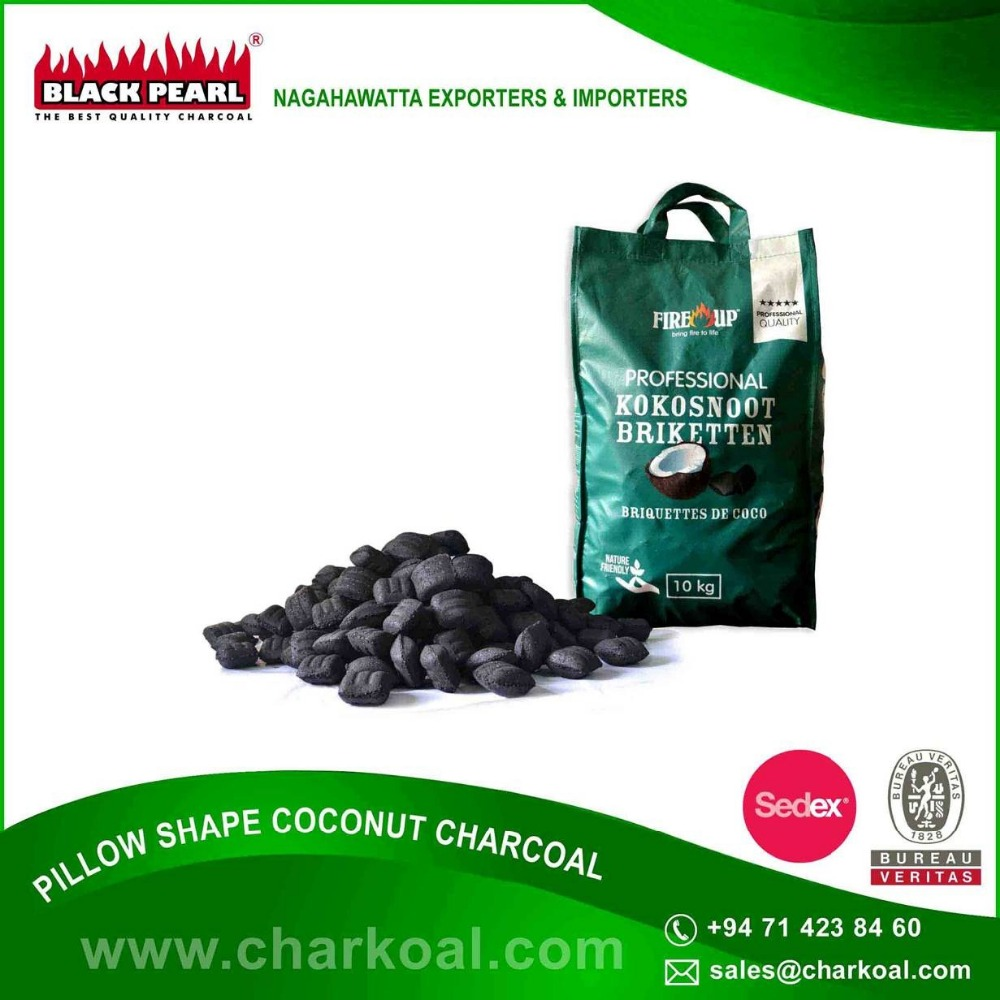 100% Chemical Free,Consistent Pillow Shaped Coconut BBQ Charcoal