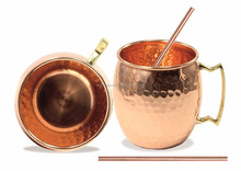Moscow Mule Copper Mugs 100% Solid Pure Copper Mug/Cup (16-Ounce/Set of 2, Hammered) + 2 COPPER STRAW FREE GIFT