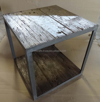 industrial coffee table made with reclaimed railway sleeper wood