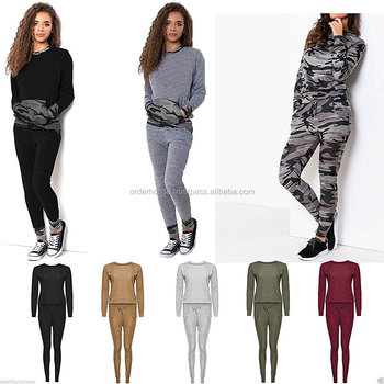 10d0250c3f53 New Womens Ladies Camouflage Army Tracksuit Pants Print Loungewear Set  Joggers