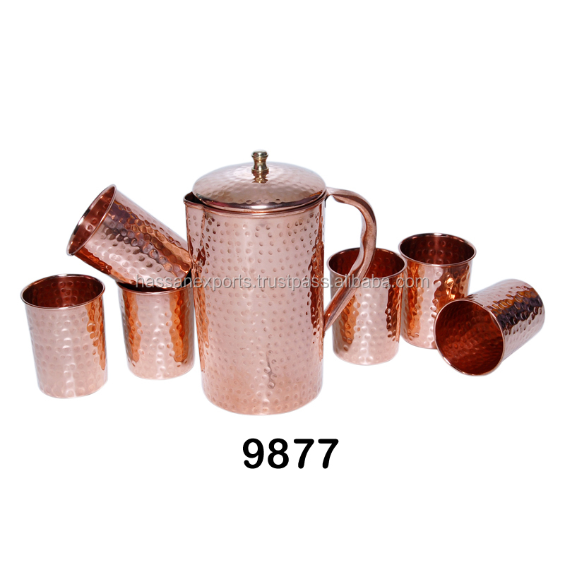 Pure Copper Jug Glass Set of 7 Pcs. With Lid