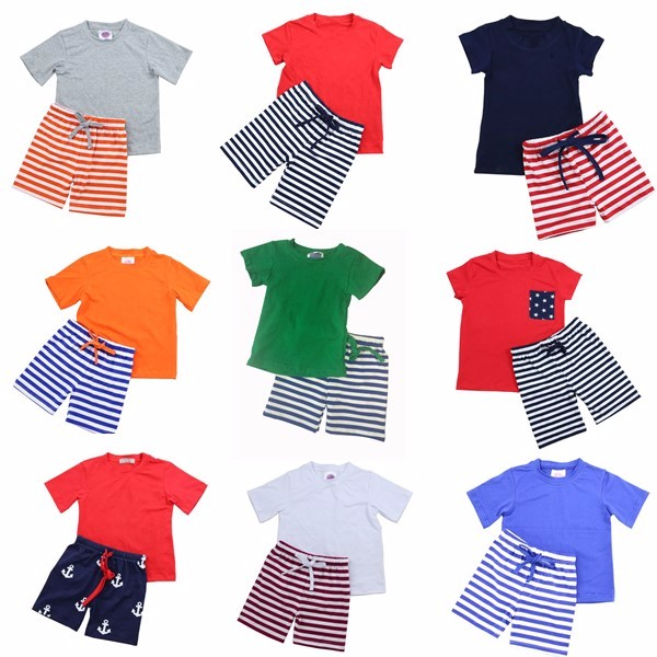 Red Navy White Short Sleeves Cotton Shirt Striped Shorts Children ...