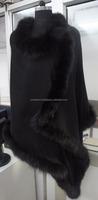 Black Fox fur with Black Silk Pashmina Wool Shawls/Stoles