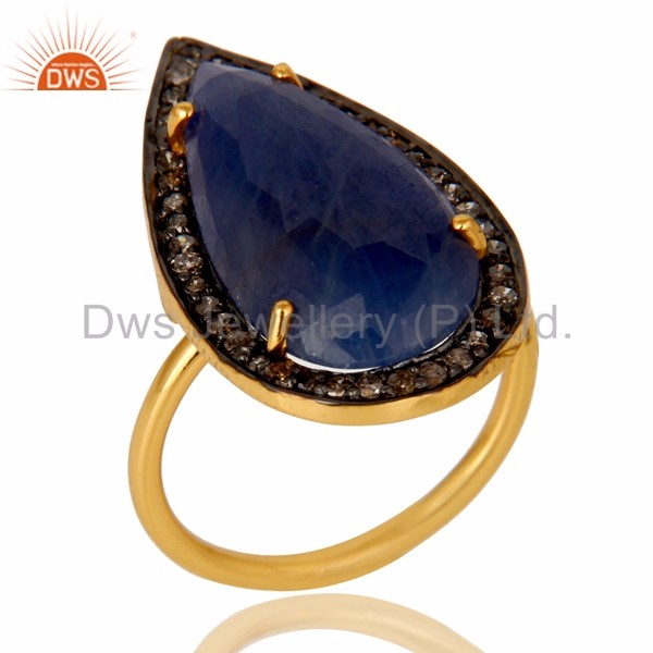 Pave Diamond Gold Plated 925 SIlver Ring Natural Blue Sapphire Gemstone Designer Ring Manufacturer of Diamond Engagement Jewelry