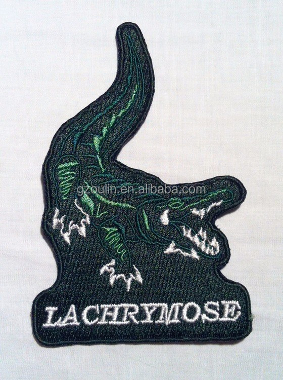 Crocodile patch Wholesale China high quality custom embroidery badges crocodile embroidery patch