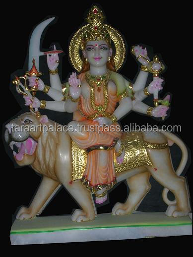 Beautiful Curved Durga Maa Marble Statue