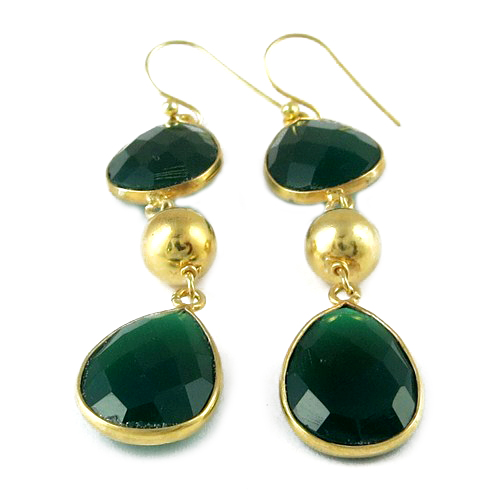 Beautiful Green Onyx 925 Sterling Silver Gold Plated Gemstone Earring, Indian Silver Jewellery, Handmade Gemstone Earrings