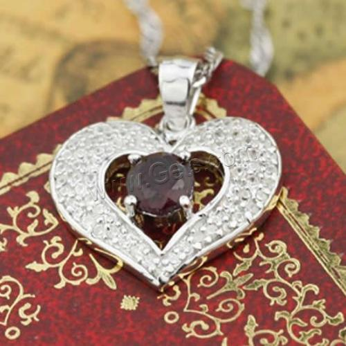 2017 New Micro Pave 925 Sterling Silver Pendants garnet pomegranate Heart platinum plated 944438