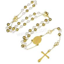 Stainless Steel cross four way crucifix cross Necklace with Plastic Pearl gold color plated plating christian catholic 1134752