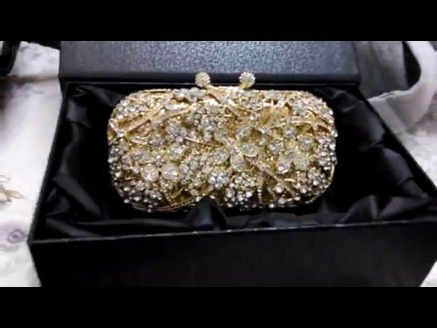 2016 Gold Evening Bag for Women Rhinestone Crystal Clutch Bridal Purse Bag