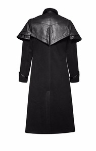 Y-712 Punk Rave Men's black gothic PU leather cloaked long coat
