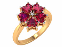 Ruby and Diamond Engagement Promise Ring 14k Yellow Gold Ring 100% Natural Diamond Ring