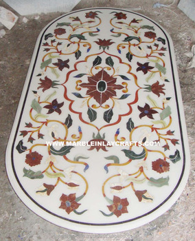 Beautiful White Marble Designer Dining Table Top Inlaid Indian Stone