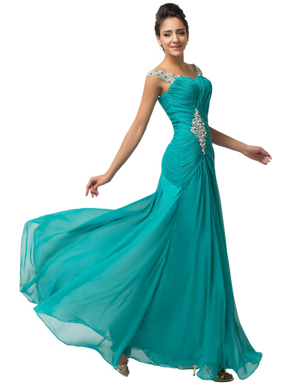 Grace Karin Dark Turquoise Chiffon Evening Gown Luxury Long ...
