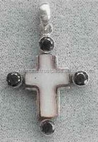 Cross silver and stone pendant,jesus cross pendant,cross new design pendant
