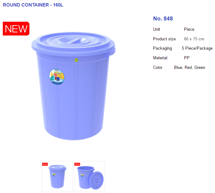 PLASTIC ROUND CONTAINER FOR RICE POWDER WATER - 160L No. 848; 5 Piece/Package; Blue, Red, Green