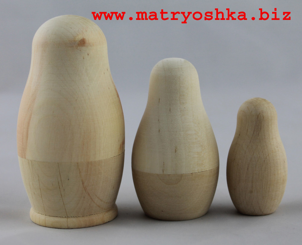 Blank Unpainted Matryoshka Nesting Stacking Russian Carved Wooden Dolls Paint Your Own Dolls 3pc