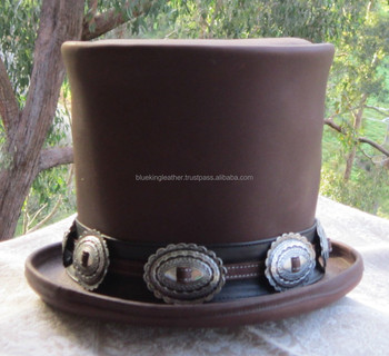 BROWN LEATHER GUNS N  ROSES DELUXE SLASH STYLE TOP HAT   MEN S STOVEPIPE HAT 153756350de