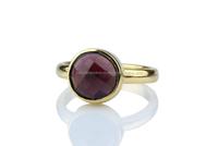 Red Garnet Round Bezel Set Engagement Ring - For Women