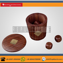 Set of 5 Wooden Dice with Shaker or Cup