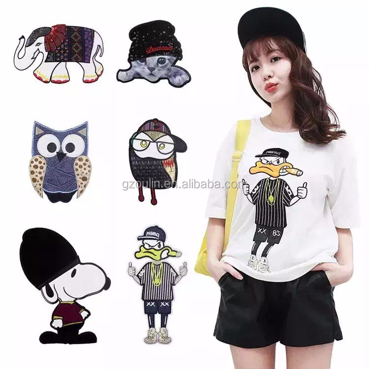Cartoon picture embroidery patch popular selling factory direct sell custom chenille embroidered letters