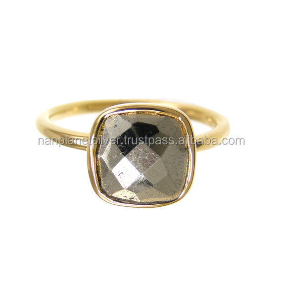 Natural Pyrite Cushion Gold Vermeil Bezel Set Ring