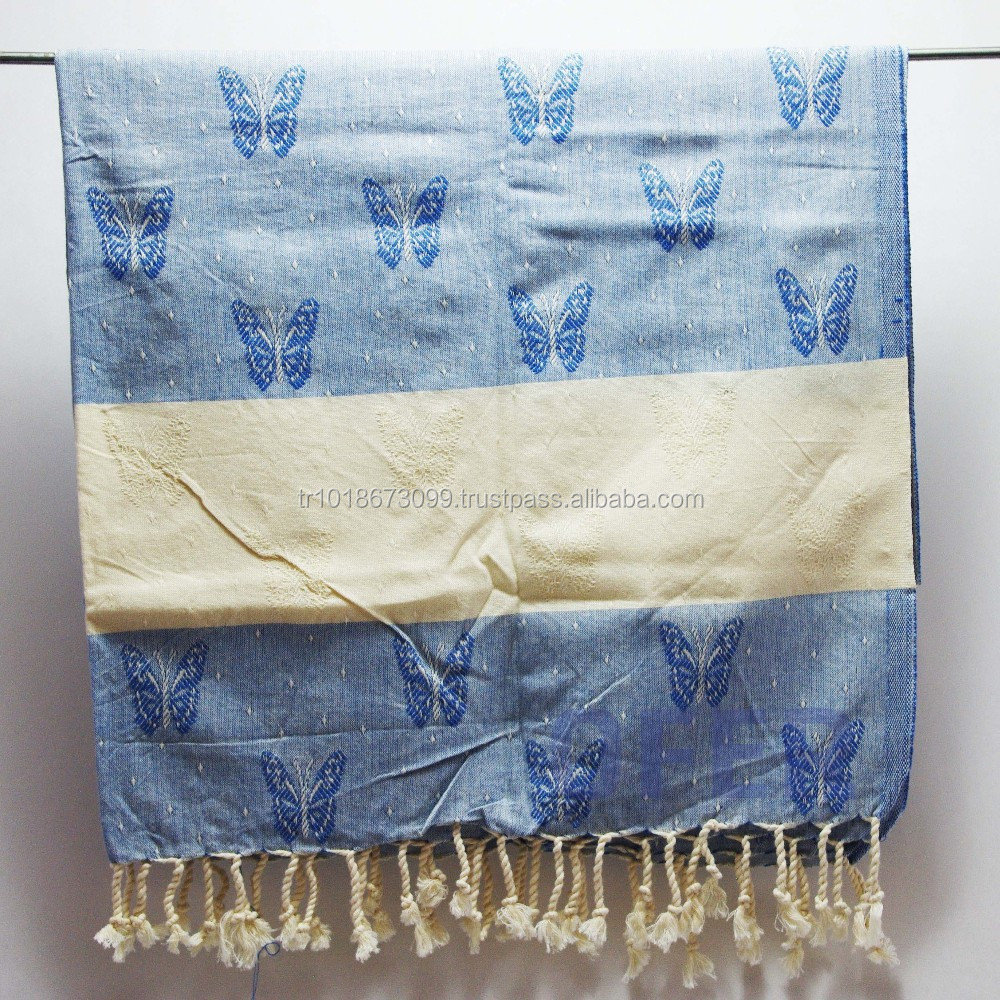 Turkish towel, peshtemal, hammam towel direct from Factory ( butterfly pestemal) jacquard flower
