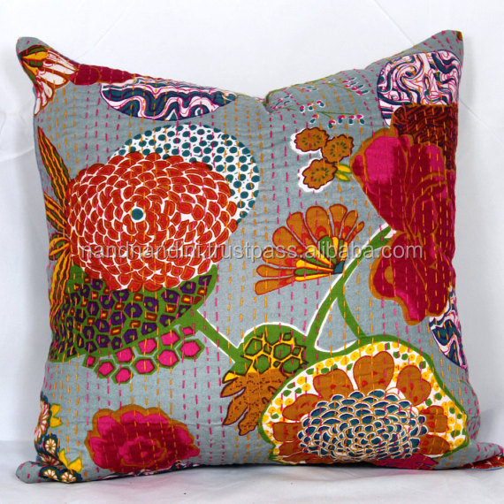 "INDIAN CUSHION COVER KANTHA WORK FLORAL ETHNIC THROW DECOR ART 16"" 0043"