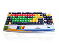 Accuratus Monster 2 - USB Early Learning Keyboard with Extra Large Keys & 2 Port USB Hub & Printed Child Friendly Design