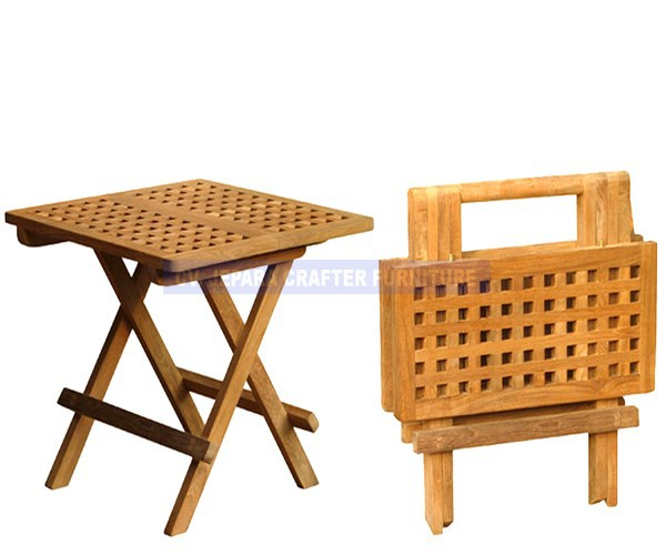 Outdoor cuadrados de madera maciza de teca mesa plegable for Mesa plegable de madera
