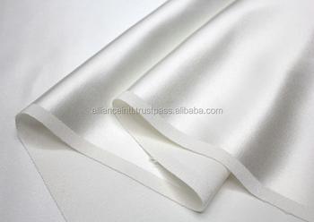 100 Mulberry Silk Fabric White Color Plain Satin