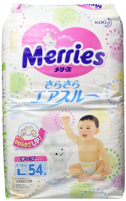 Kao | Diapers | Merries sarasara Air through L-size { 9kg~14kg } 54sheets [supplied from Japan]