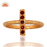 Sterling Silver Hammered Stack Ring, Garnet Gemstone Jewelry Supplier,Handmade 925 Sterling Silver Stackable Gemstone Ring