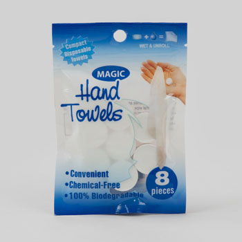 MAGIC HAND TOWEL 8PK DISPOSABLE QUIK WIPE BIODEGRADBLE 8.5X9.5 #G11322CS