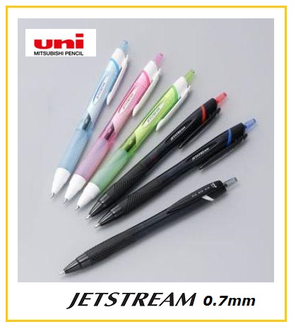 UNI Jet stream pen , 0.7mm ball smooth oil ink , white and standard colors , Japan quality