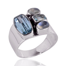 Wholesale Silver Jewelry New Arrival Rainbow Moonstone And Blue Topaz 925 Solid Silver Ring