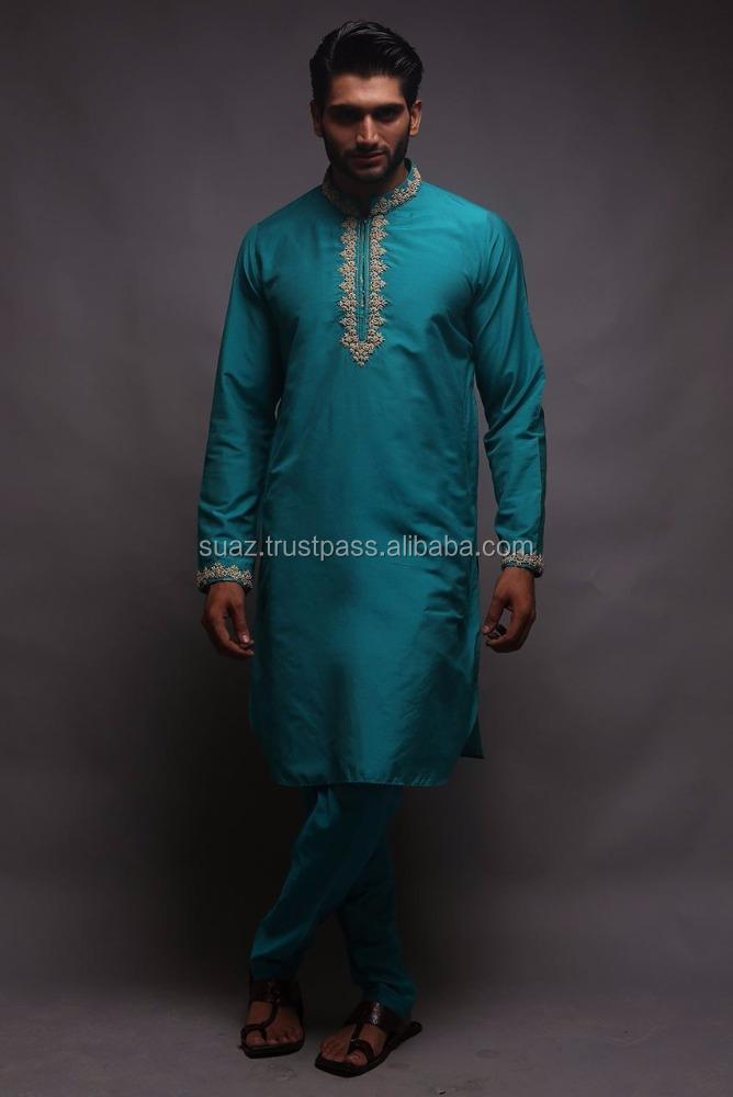 1de79f0e78 Embroidered men's kurta shalwar suit, cotton silk embroidered front kurta  with matching