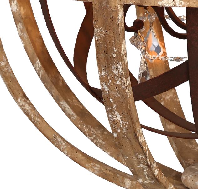 Birch Vintage Wood Frame Chandelier Ic3146 5 Crystals