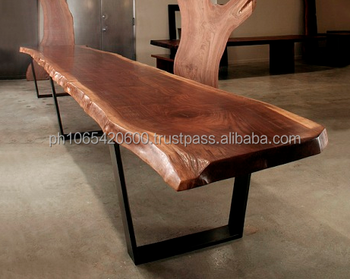 Acacia Wood Slab Dining Tables With Powder Coated Steel Legs