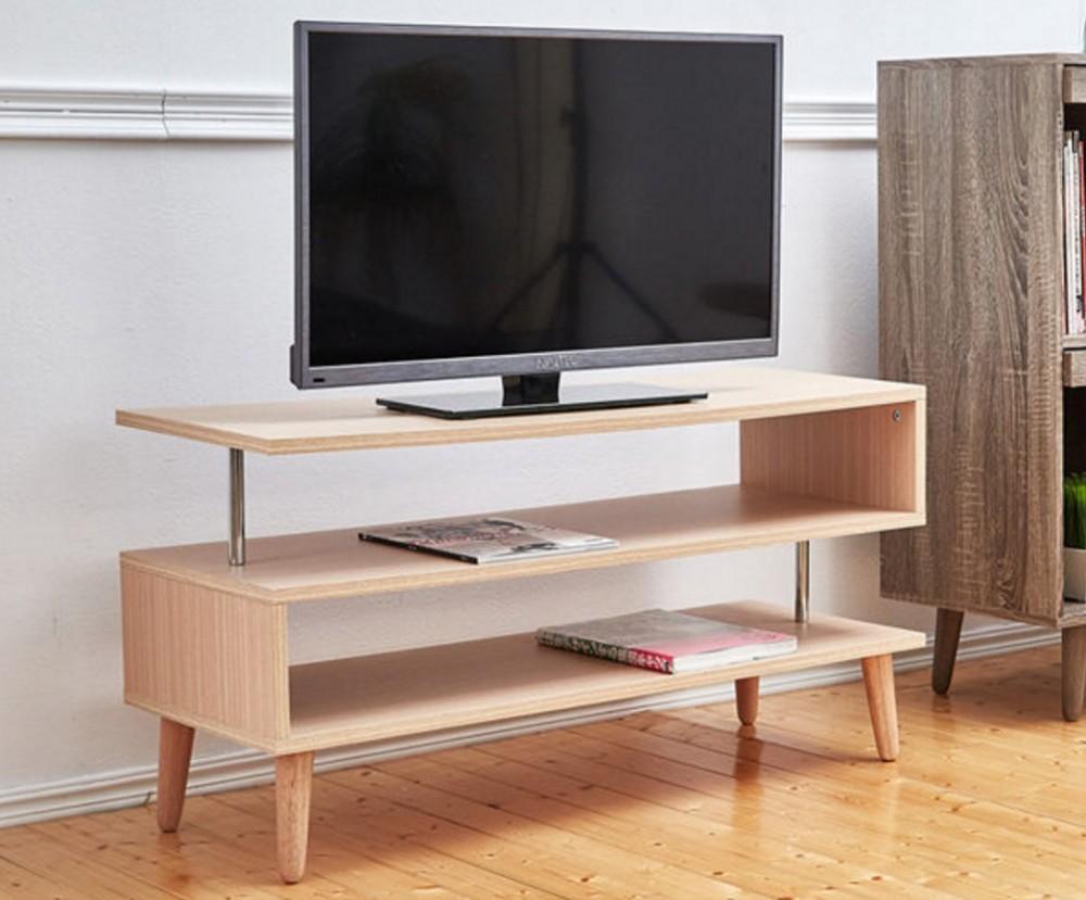 Simple Design Modern Snake Shape Wooden Plywood Tv Stand Tv