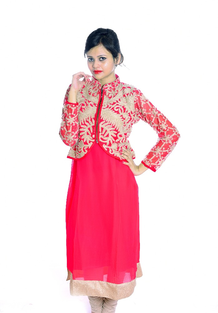 Tatka Georgette Kurti With Jacket Buy Fashionable Kurti Style
