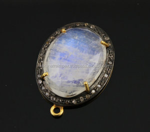 Natural Rainbow Moonstone 20x26mm Oval Faceted C.Z Studded Pave Setting 925 Sterling Silver Black Rhodium Plated Bezel Pendant